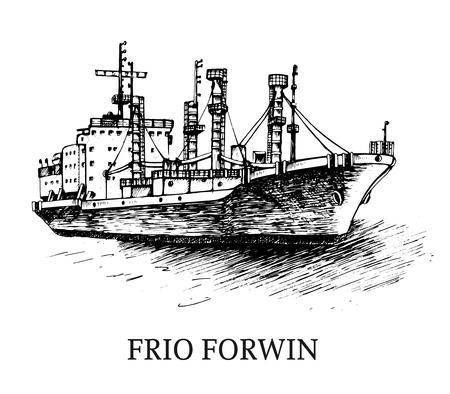 貨物船、冷凍 Forwin。ベクトルの図。トレース画像。手で元の図面、また私のポートフォリオのビットマップ フォルダーに検索できます。