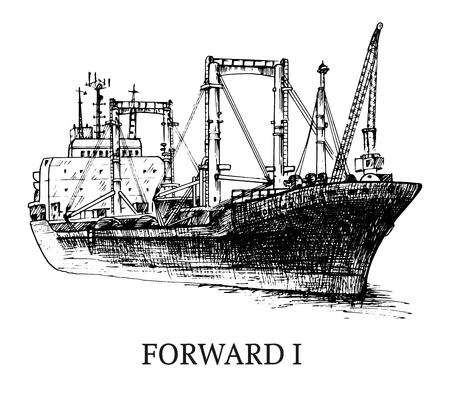 Vrachtschip, reefer Vooruit. Vector Illustratie
