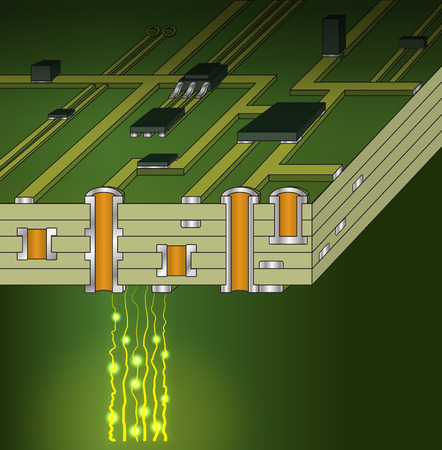 Cross-section of green motherboard Stock Photo