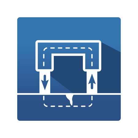 Magnet pictogram. Industrial icon in trendy flat style on blue background. Magnet control pictogram for your web site design, logo, app. Vector illustration, EPS10 Illustration