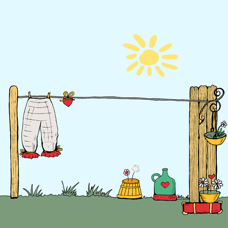 The washed laundry is dried in air with love. Vector illustration. It can be use as a greeting card. Vector illustration.