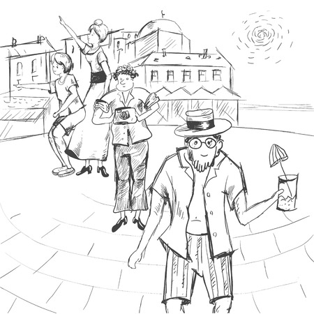 Comic strip. A group of people together with a guide are walking around the city. Illustration