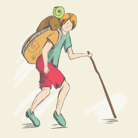 Travel of a foot tourist. Illustration