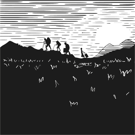 Comic strip. Tourists at night climb mountains. Sunset. Silhouettes of people against the background of the orange sky.