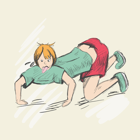 The sweaty man crawls on all fours with his tongue hanging out. Illustration