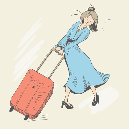 A young girl with disheveled hair is carrying a baggage.