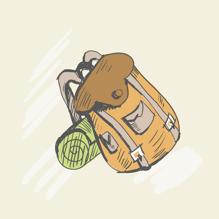 Travel backpack with tourist foam. Sketch style. Vector illustration
