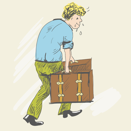 The blond man carries heavy suitcases, sweating.
