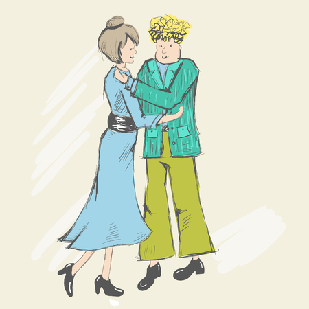 A young couple of people says goodbye or greet each other. Illustration
