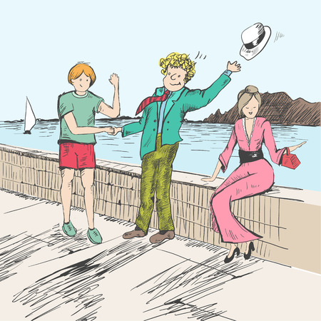 Comic strip. Two mens met by a sea.