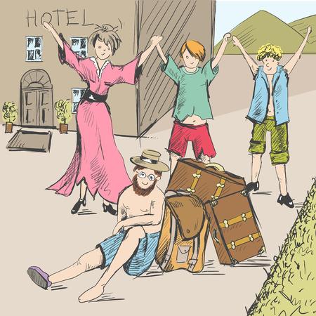 Tira cómica. Los viajeros cansados ??llegaron a la civilización. Una guía está agotada, un hombre está sentado en el suelo.