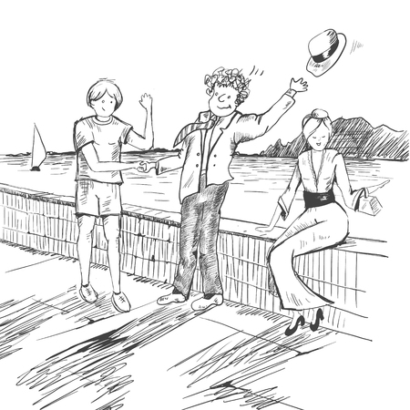 Comic strip. Two mens met by a sea. Friendly greeting. Peoples take off their hats as a sign of respect.