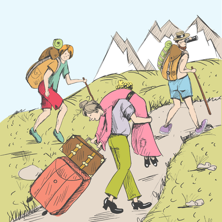 Comic strip. Tired travelers climb a mountain.