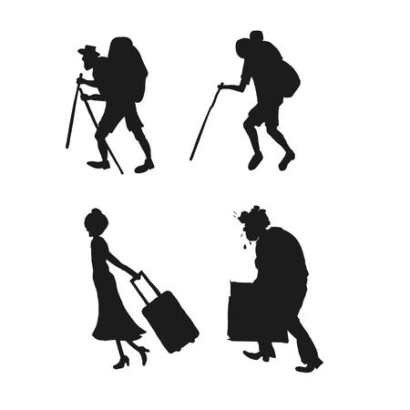 Silhouette pictograms of people on the rest