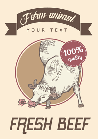Poster of light color. Cow is eating flower, vector illustration. Front view. Sketch and retro style. 向量圖像