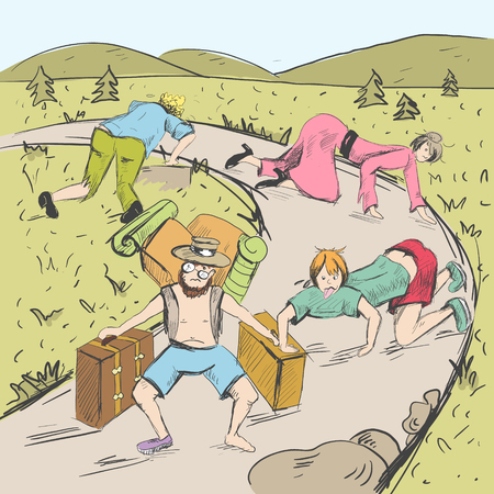Comic strip. The end of a road is visible. Tired travelers are found a way from a mountains into civilization. People crawl on all fours and in tattered clothes. Sketch style. Vector illustration Banco de Imagens - 89257155