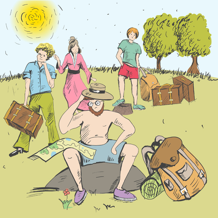 Comic strip, man sitting on a stone and thinking. Tourism. A guide have a route map on his knees. Near a guide grows flowers. Group of people are waiting for a decision of guide. Dissatisfied persons.