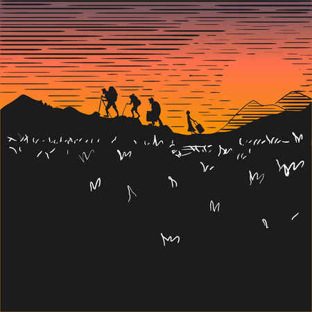 Comic strip, tourists at night climb mountains. Sunset. Silhouettes of people against the background of the orange sky. Persons carry heavy suitcases and backpacks. Sketch style. Vector illustration Illustration