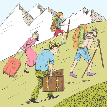 Comic strip of tired travelers climb a mountain. Tourists follow the guide. Illustration