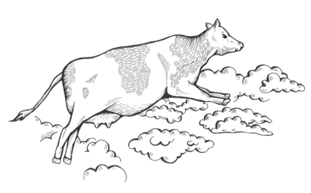 Cow flies among the clouds in the sky. Merry greeting card for any congratulations. Simple text. Bitmap illustration 版權商用圖片