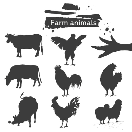 Symbol roosters, hen, chicken and cows. Set of farm animals. Silhouette. Hand drawing birds family and cattle. Rooster fighter, modest brood, small chick, chicken feet, cows and ribbon for your design