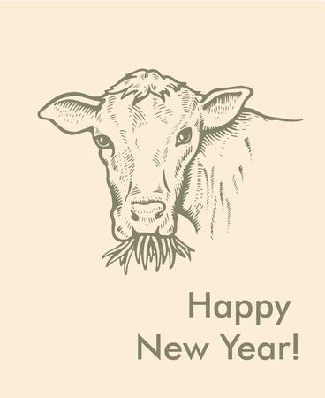 Greeting card of Bull. Simple text Vector illustration. Ilustração