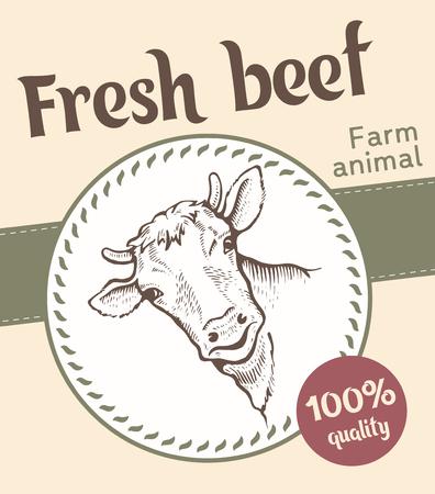 Label of smiling Bull illustration  design Ilustração