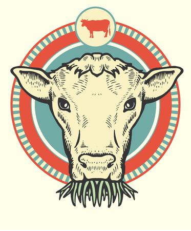 Label of cute Bull