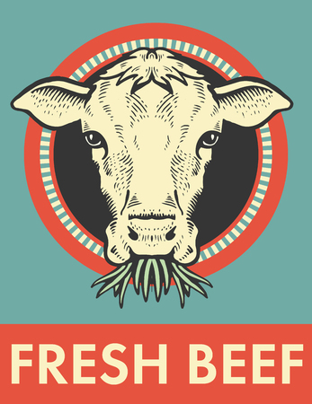 Label of cute bull with grass vector illustration. Ilustração