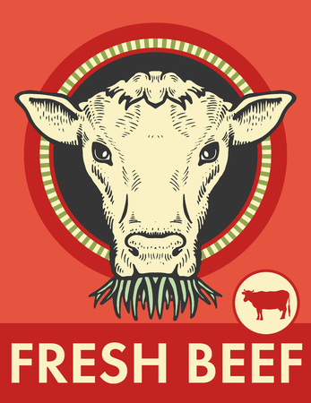 Label of cute bull with grass illustration on red background. Ilustração