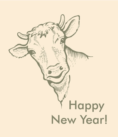 Greeting card of bull. Simple text, Happy New Year. 向量圖像