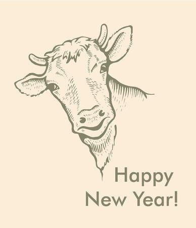 Greeting card of bull. Simple text, Happy New Year. Ilustração