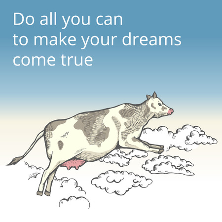 Flying cow in the clouds vector illustration. Illustration