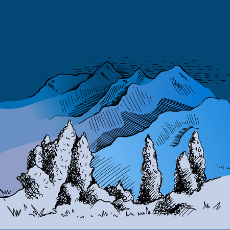 Rocky mountains and nature trail illustration