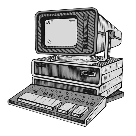 Old computer, one of the very first illustration