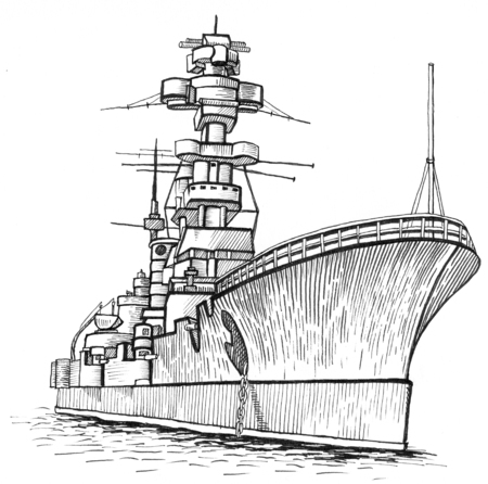 warship with a high mast