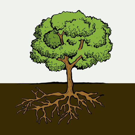 Tree with Roots and Leafs. Vector image. Symbol pictures
