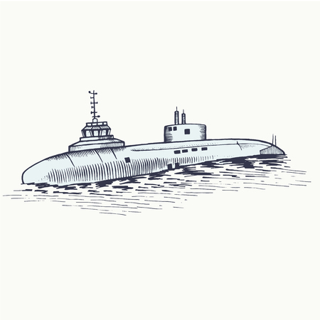 The nuclear submarine surfaced from the depths of the sea