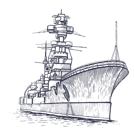 Illustration of a warship with a high mast