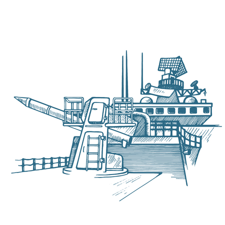 Ship with nuclear rocket Vector illustration.