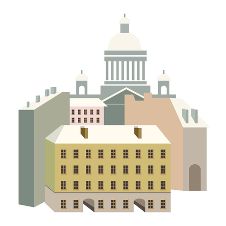 Houses in the style of classicism vector illustration with beautiful buildings of Saint-Petersburg city, Isaacs Palace. Illustration