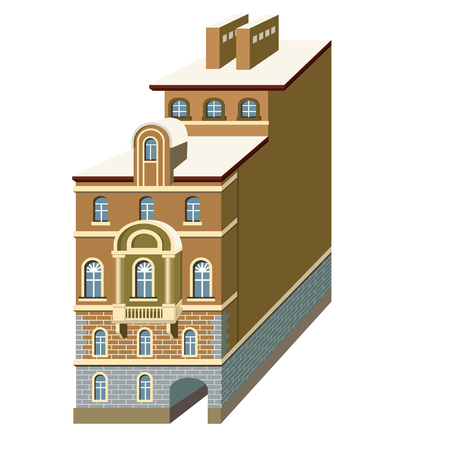 Houses in the style of classicism vector illustration with beautiful buildings of Saint-Petersburg city.