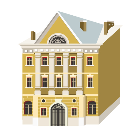 Miniature houses in the style of classicism. Vector illustration with beautiful buildings of Saint-Petersburg city Ilustração