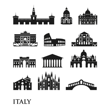 Set of Italy symbols, landmarks in black and white. Vector illustration. Rome, Venice, Milan, Italy