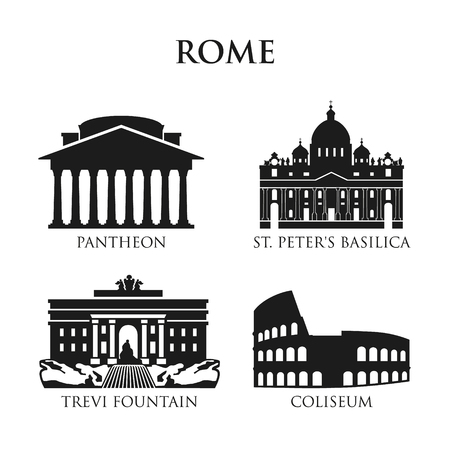 Set of Italy symbols, landmarks in black and white. Vector illustration. Rome, Italy.