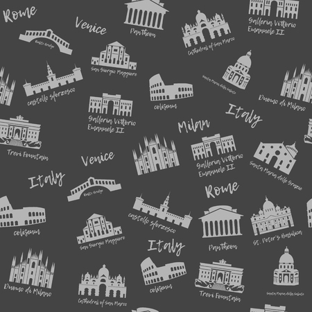 Seamless pattern of Italy. Building, landmarks of sities. Silhouette travel icons Banco de Imagens