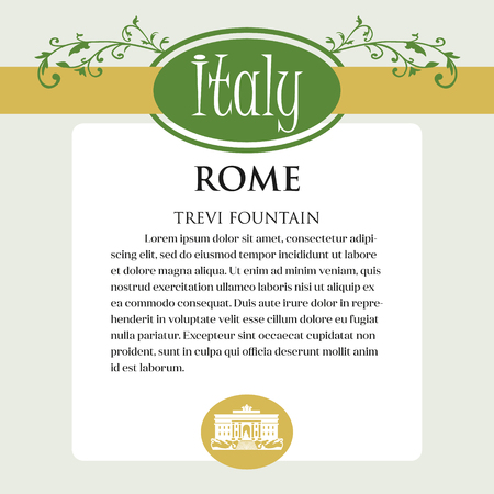 Designe page or menu for Italian products. It can be a guide with information about Italian city of Rome. Trevi Fountain