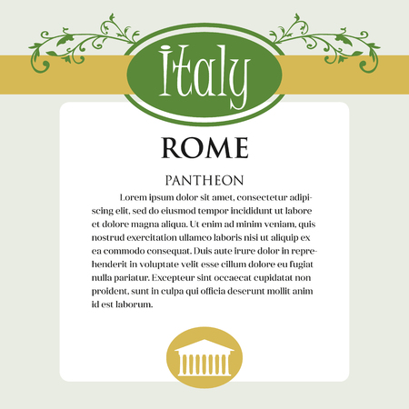 Designe page or menu for Italian products. It can be a guide with information about Italian city of Rome. Pantheon