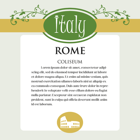 Designe page or menu for Italian products. It can be a guide with information about Italian city of Rome. Coliseum