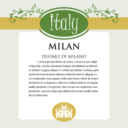 Designe page or menu for Italian products. It can be a guide with information about Italian city of Milan Ilustração